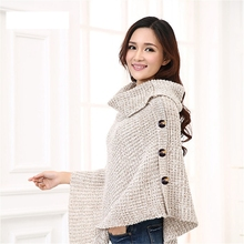 цена на SWYIVY Autumn and Winter Warm Pullover Coat Knit Sweater Shawl Cloak High Collar Turtleneck Cloak Pullover Women Poncho Capes