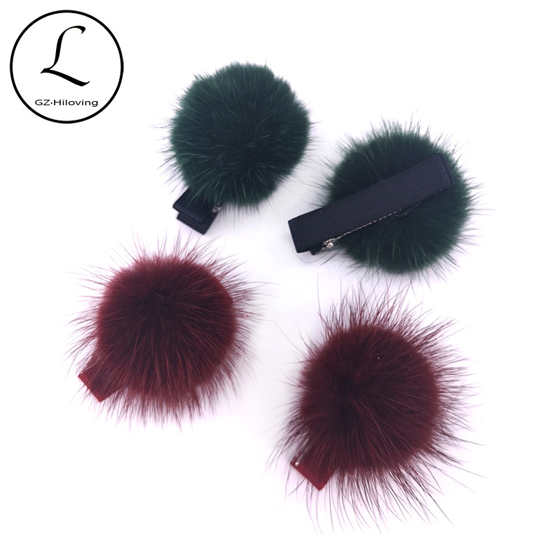 Baby Girls Fluffy Pompom Hair Clip Sweet Girls Princess Ball Hairpin Barrette Real Mink Fur Pompom Hairball Hair Accessories