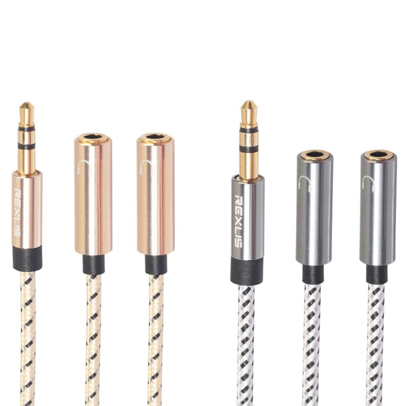 3.5 Mm Black Headphone Earphone Audio Cable Micphone Y Splitter Adapter 1 Female To 2 Male Connected Cord To Laptop PC Phone