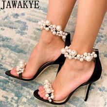 Perłowy wystrój sandały na wysokim obcasie letnie formalne buty na imprezę różowe buty ślubne damskie markowe sandały z paskami tanie tanio JAWAKYE Z dwoiny CN (pochodzenie) Super Wysokiej (8cm-up) Ślub GLADIATORKI Szpilki PRAWDZIWA SKÓRA Kożuch Otwarta RUBBER