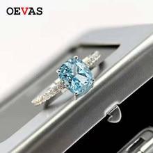 OEVAS 100% 925 Стерлинговое Серебро Аквамариновый с высоким содержанием углерода алмазные кольца из белого золота с сверкающими Обручение Сваде...