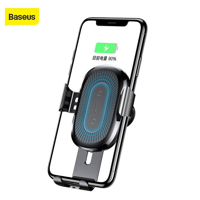 Baseus צ י רכב אלחוטי מטען עבור iPhone X XR 8 Samsung Galaxy S9 S8 נייד טלפון מחזיק מהיר אלחוטי מטען רכב מטען
