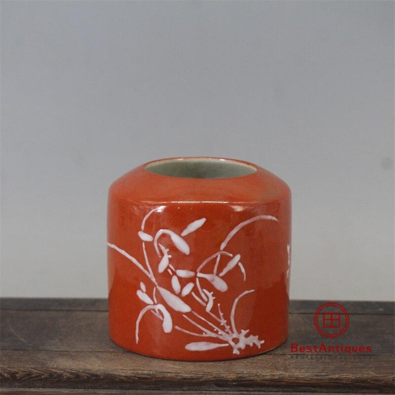 Qing Guangxu-Vase de fleur de glaçure corail rouge | Vase de fleur de lavage pour stylo, ancien Vase de décoration en porcelaine Collection de décoration pour la maison