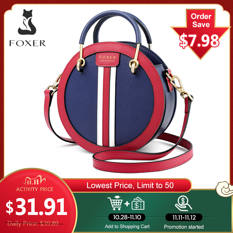 FOXER Women's Split Leather Round Crossbody Bag Female Small England Style Circular Handbag Lady 2020 Shoulder Bag Gift for Girl|Top-Handle Bags| - AliExpress