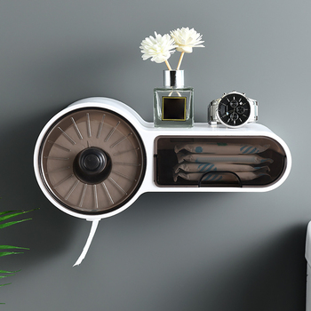 Wall Mounted Roll Paper Storage Box Free Punching Bathroom Toilet Paper Holder Paper Toilet Dispenser Roll Paper Storage Box toilet paper holder wall mounted wc paper tissue box dispenser multi function plastic bathroom toilet paper holder storage box