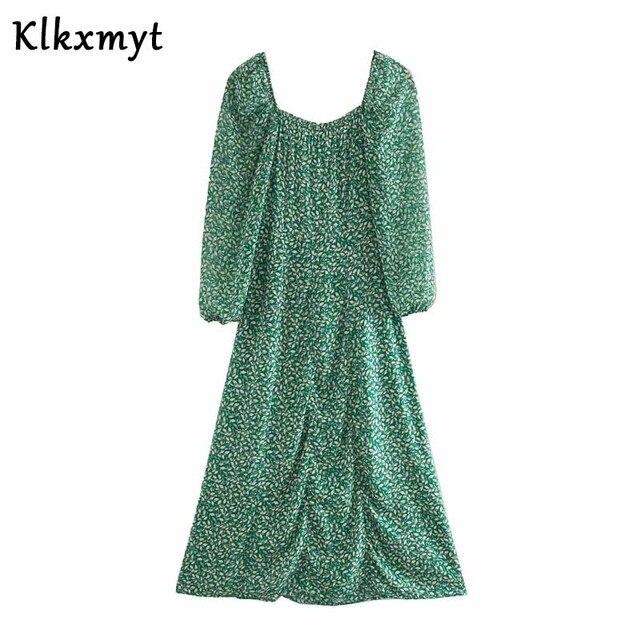 Klkxmyt summer dress women high street vintage print square collar party midi za dress vestidos de fiesta de noche vestidos 3