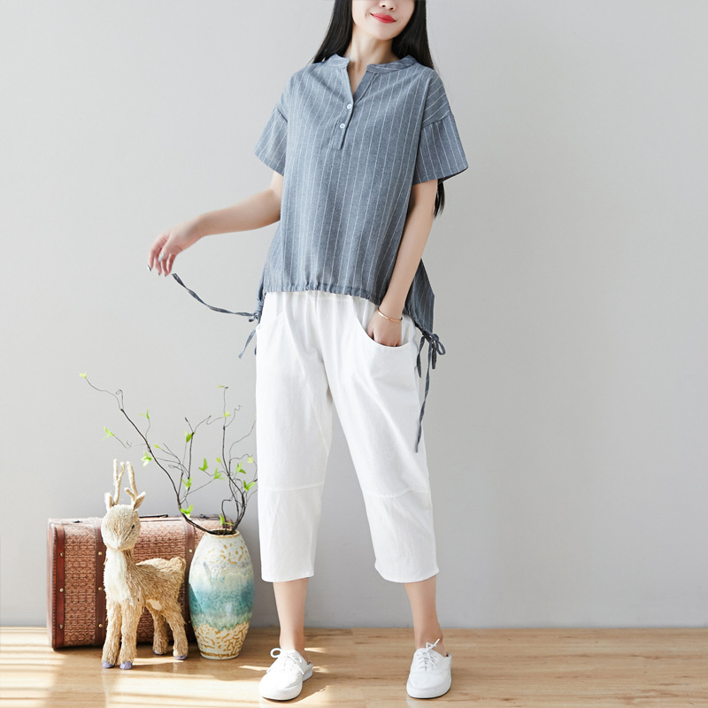 2019 New Style Literature And Art Loose Cotton Linen Tops Large Size WOMEN'S Short Sleeve Shirt Shirt + Harem Pants Set