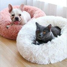 Cama comprida de pelúcia para gato cão e filhotes, almofada portátil longa super macia e quente, para o inverno casa de ninho