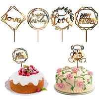 1pcs Stylish Cake Decoration Topper Acrylic Happy Birthday Cake Hot Stamping Party Cake Flag Acrylic Decoration