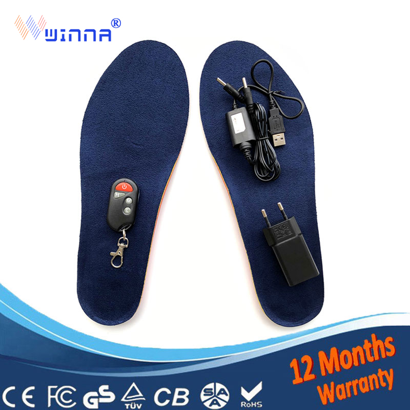New Wireless Control Heated Thermal Insoles Winter Warm Velvet 1800mAh Electrically Heated Insoles For Men Women