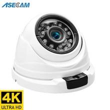 8mp 4k camera de segurança ip poe h.265 onvif metal interior pequena cúpula cctv grande angular 2.8mm de segurança 4mp câmera de vigilância de vídeo