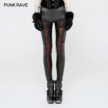 PUNK RAVE Gothic Elastic Waistband Flowers Embroidery Leather Leggings Vintage Embossed Mesh Lace Club Party Sexy Women Pants punk rave women gothic hole sexy leggings steampunk stretchy slim fit female pants fashion leather leggings