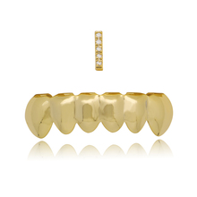 2 Pcs/Set Gold Teeth Grillz For Women Men CZ Iced Out Grills Tooth Caps Rapper Cospaly Party Body Jewelry Accessories Gift