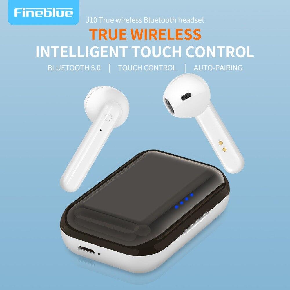 ASTROSOAR - FineBlue J10 TWS Bluetooth V5.0 Earphones Wireless 6D Stereo Super Bass Intelligent Touch Control Earbuds HD talking