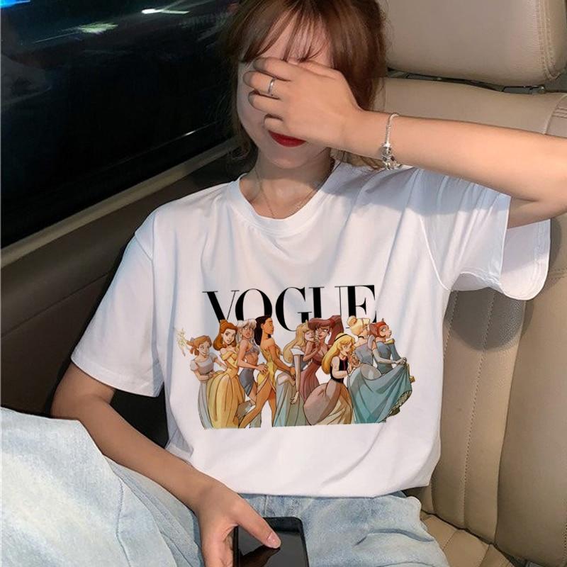 Vogue Harajuku Ullzang Футболка женская забавная футболка принцессы с героями мультфильмов 90s графическая Эстетическая Футболка Модный кавайный Топ Футболки женские