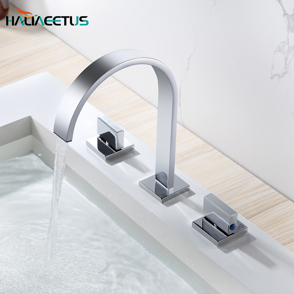 Polished Chrome Torneira Banheiro.Two Handles Three Holes Deck Mounted Bathroom Widespread Faucet.Bathroom Basin Sink Mixer Tap