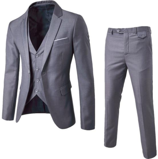 2019 Suit Mens Business Wedding Formal Blazer Korea Slim Fit Male 3 Piece Tuxedo Blazer Jacket+Vest+Pants Plus Size 6XL