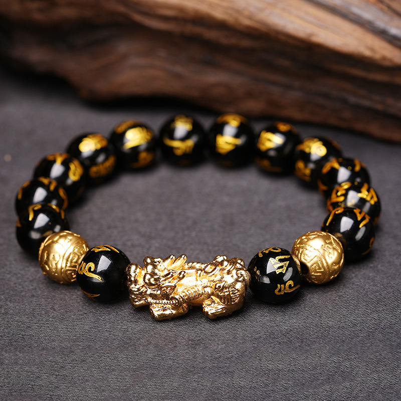 Браслет Obsidian для мужчин, браслет из натурального камня для здоровья, аксессуары для бисера, браслет с животными, модные ювелирные изделия, п...