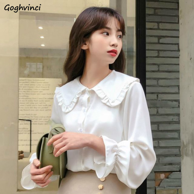 Shirts Women Solid Simple New Arrival Spring Korean Style Chic Trendy Casual Blouses Elegant Vintage Womens Streetwear All-match 1