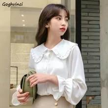 Casual Blouses Shirts Women Streetwear Vintage Korean-Style Elegant Simple Spring New-Arrival