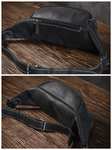 Image 4 - PNDME high quality cowhide simple vintage chest bag genuine leather mens shoulder messenger belt bag casual sports waist packs