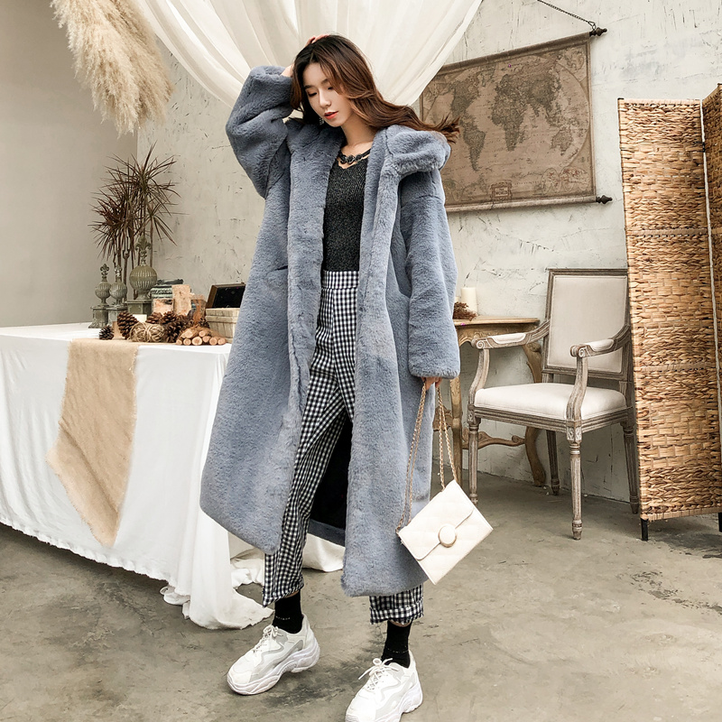 Winter And Autumn Women New Fur Coat 2019 Simulated Mink Fur Thickening Long Large Size Loose Casual With Hood Fur Coat
