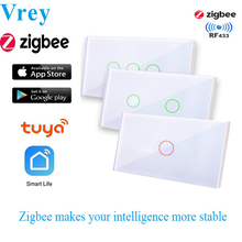 US Standard Zigbee Touch Switch, WIFI Smart Switch, Voice Control wall switch work with Alexa Echo Google Home 1/2/3-Gang