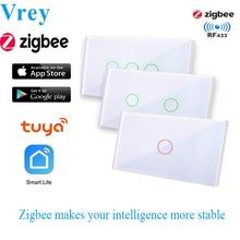 Vrey US standardowy przełącznik dotykowy Zigbee WIFI inteligentny przełącznik sterowanie głosem przełącznik do montażu ściennego praca z Alexa Echo Google Home 1/2/3 Gang