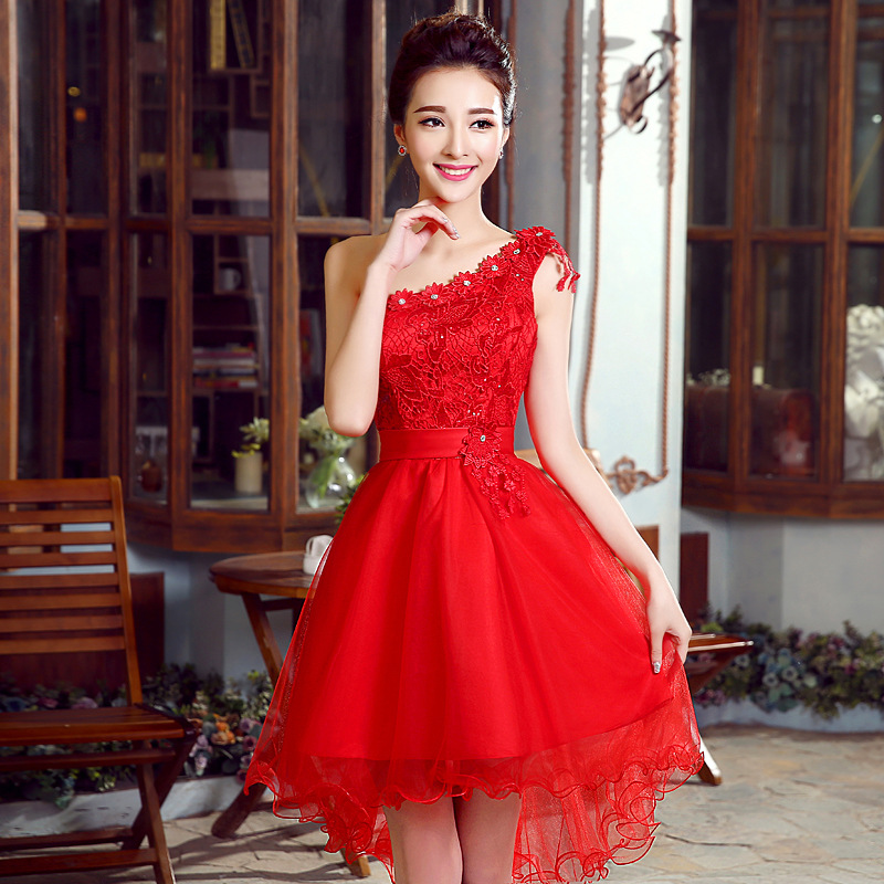 Bride Dress For Toast Engagement Marriage Formal Dress One-Shoulder Short In Front Long Lace 2019 New Style Annual General Meeti