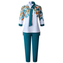 Pant-Suits Africa Clothing Tops 2piece-Sets Plus-Size Women Ladies And Business for Shirt