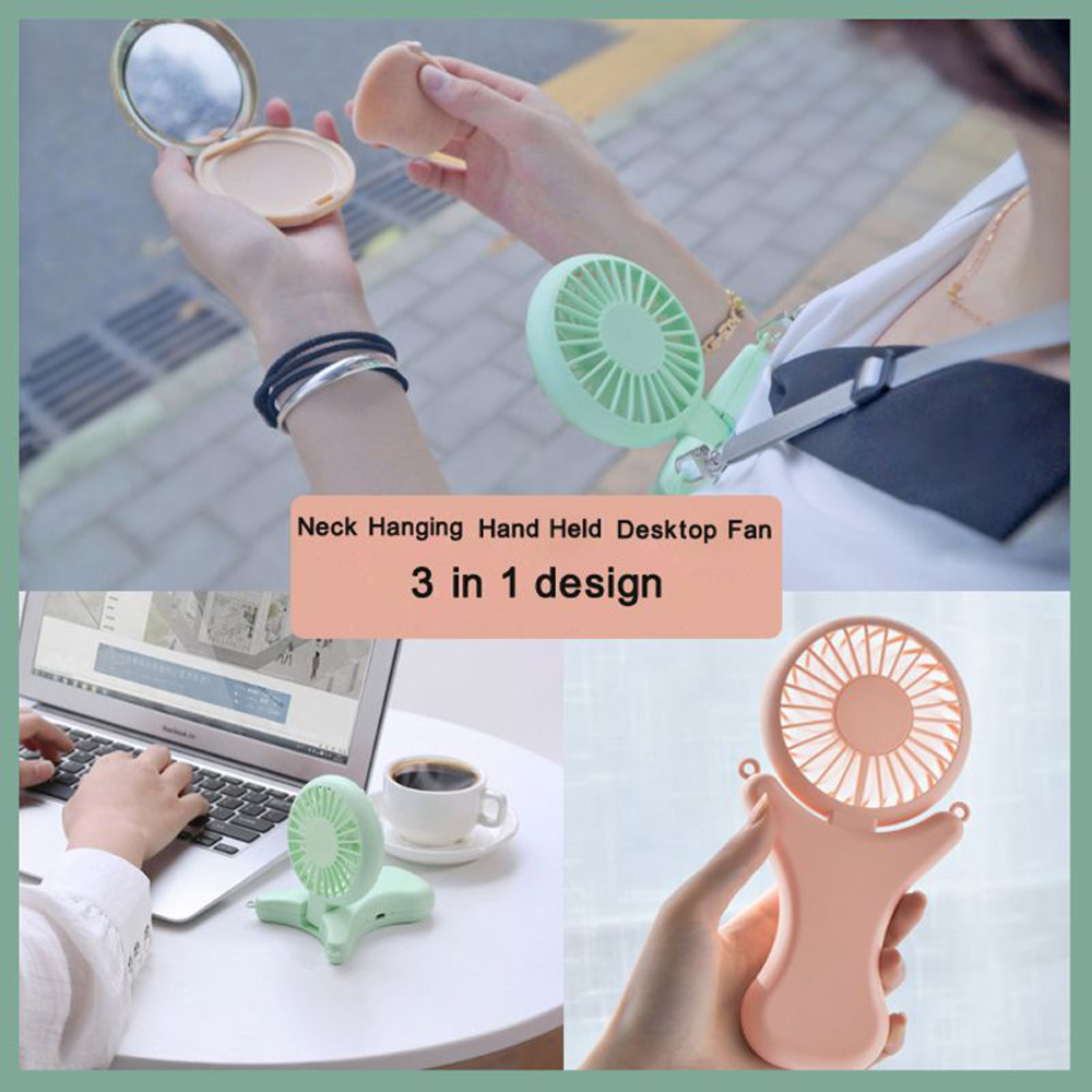 <font><b>2000mAh</b></font> USB Portable Hands-free Neck Hanging Fan Rechargeable Air Cooler Mini 선풍기 <font><b>3</b></font> gears Hand Held Desktop Electric Fan Trave image