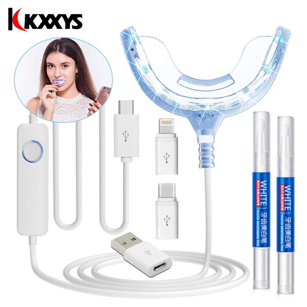 Portable Smart Timing Cold Blue Light LED Teeth Whitener Device Dental Whitening Has 2 Bleaching Gel,2 Ports For Android IOS