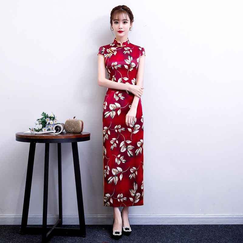 Red Qipao Dresses Flowers Vintage Cheongsam Brocade Long Lady Summer Printing Tight Corset Chipao Dress  4XL