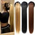 MEIFAN шелковистый длинный прямой хвост на кулиске 85 см синтетический зажим искусственные шиньоны для женщин наращивание волос