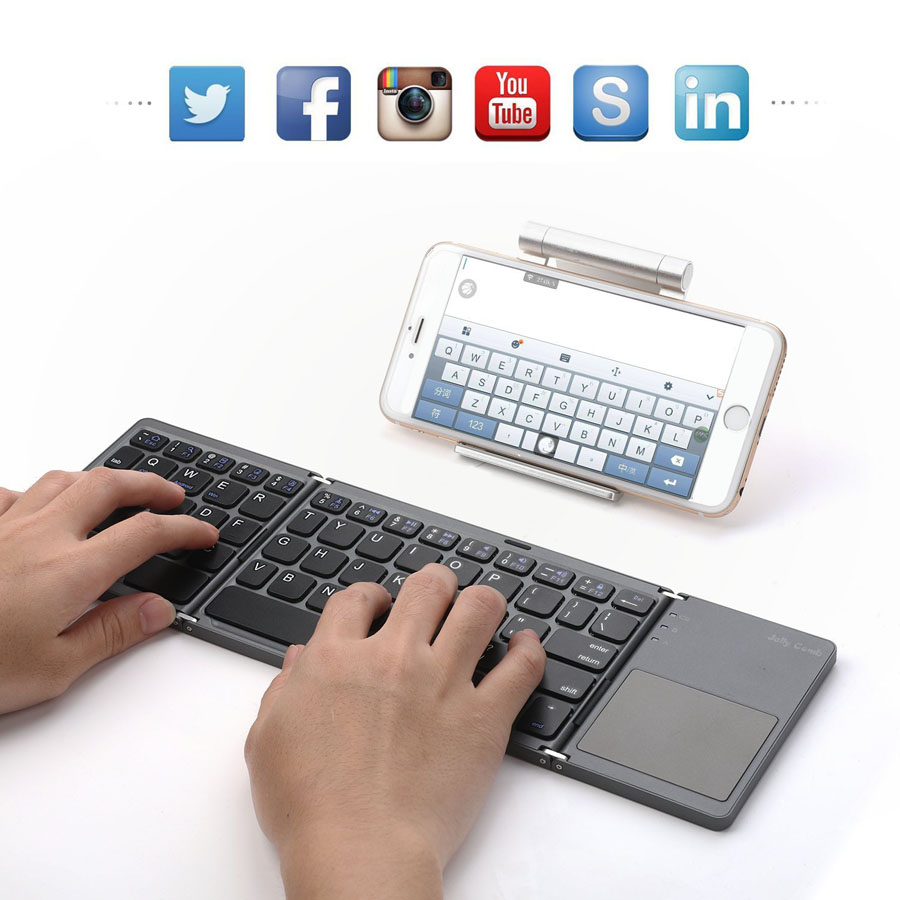 Bluetooth Foldable Wireless keyboard folding Rechargeable keyboard with Touchpad for Windows,Android,ios Tablet ipad Phone BT
