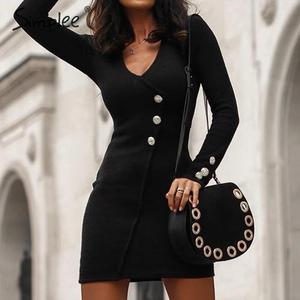 Image 5 - Simplee Oansatz frauen herbst kleid Elegante tasten langarm schwarz bodycon kleid Streetwear damen warme chic mantel mini kleid