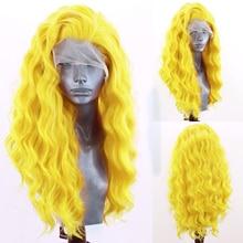 Длинный волнистый парик харизма, парик из синтетических волос спереди, волосы из термостойкого волокна с боковой частью, парики для женщин, ...