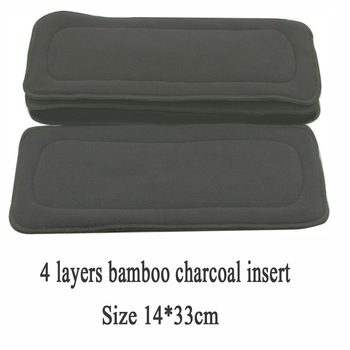цена на 1pc 4 Layers Reusable Diapers Bamboo Charcoal Cloth Diapers Inserts Nappy Changing Mat Baby Diapers Changing Pad Solid Color