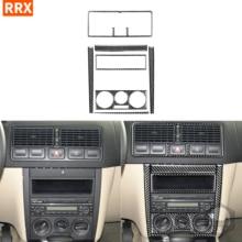 검은 탄소 섬유 7PCS 스티커 센터 컨트롤 프레임 트림 콘센트 라디오 AC 커버 인테리어 폭스 바겐 폭스 바겐 골프 4 MK4 1999 2004