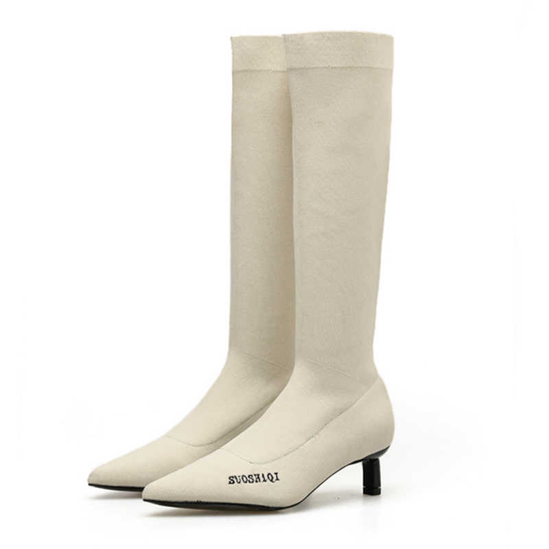2019 Lüks Kadın Çorap Diz Yüksek Çizmeler Seksi 5cm Yüksek Topuklu Beyaz Çizmeler Örgü Streç Düşük Topuklu Kış Sonbahar sıcak Uyluk Ayakkabı