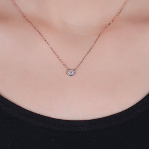 Image 5 - TransGems 14k Rose Gold Center 0.4ct 4.5MM F Color Moissanite Pendant Necklace for Women Chain Length 45CM Engagement Gifts