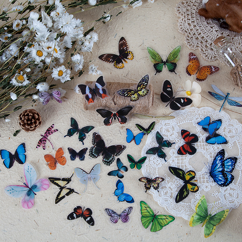 40pcs/pack Butterfly Stickers Diary Sealing Label Sticker Decal Travel Sticker Diy Scrapbooking Diary Planner Albums Decoration