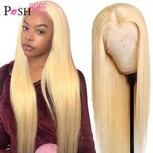 4x4 5x5 закрытие парик Средняя часть 613 блондинка Синтетические волосы на кружеве парик человеческих волос 13*1 бразильский Реми Прямые Синтети...