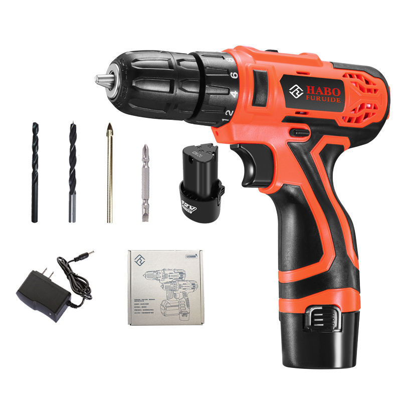 2 Battery Hand Drill Cordless Electric Impact Power Drills Screwdriver Rotary Tools For Woodworking 12V-in Electric Drills from Tools