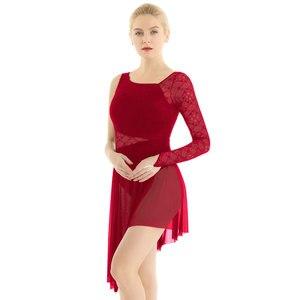 Image 5 - 女性叙情的な現代現代バレエダンスドレスシングル長袖指先でレースのボディス非対称レオタードドレス