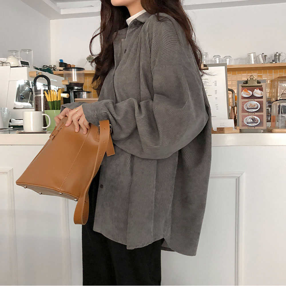 Corduroy Women Shirts Korean Elegant Solid Single Breasted Loose Female Tops Spring Autumn Long Sleeve Blouse Minimalist