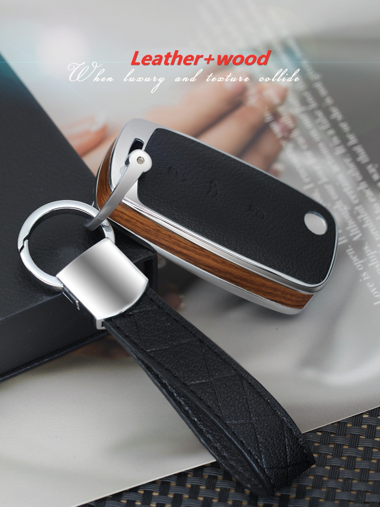 Alloy Leather Car Key Case For Volkswagen VW Passat Golf Jetta Bora Polo Sagitar Tiguan Auto Key Bag Cover Protector