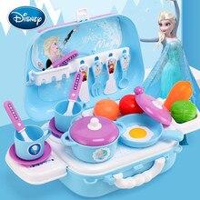 Дисней подарок для девочек замороженная Романтика кухонные столовые приборы игрушка рюкзак детский игровой дом девушка Моделирование Красота Макияж игрушка набор инструментов