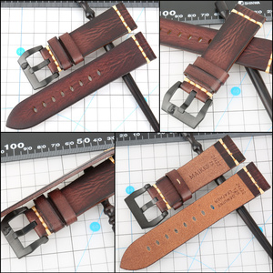 Image 3 - MAIKES Handmade włoska skóra zegarek pasek 18mm 19mm 20mm 21mm 22mm 24mm zegarek w starym stylu pasek dla Panerai Omega IWC Watchband