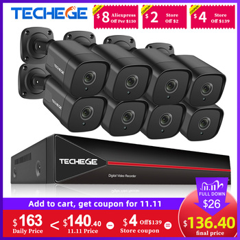 Techege H265 8CH HD 5MP POE NVR Kit CCTV Security Camera System Kit Outdoor Waterproof Video Security Surveillance IP Camera Kit face recognition 8ch poe network nvr cctv system kit hd 5mp ip camera ir ip66 outdoor waterproof video security surveillance set